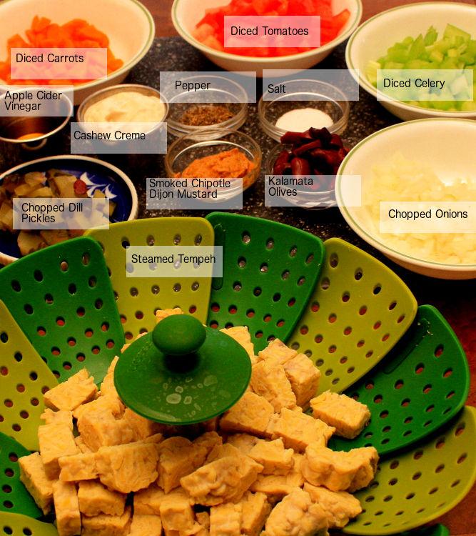 Mise en Place TEmpeh salad labeled